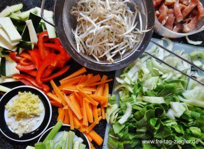 Buntes Gemüse für den Wok