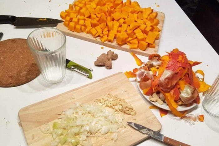 Zutaten für Kürbissuppe